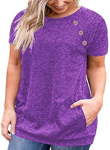 Womens Plus Size Tunic Shirt Short Sleeve Buttons T-Shirt Blouse Tops Purple 14W