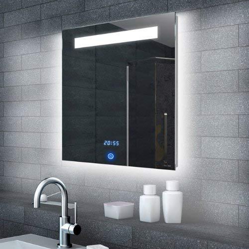 Lux-aqua Luce LED Specchio con Illuminazione con 990Lumen Orologio e Interruttore Touch 60x 65cm ml6506