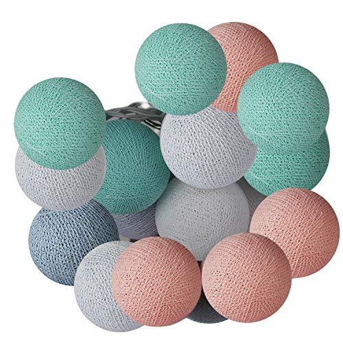 ART-CRAFT LED Stimmungs Textil-Lichterkette batteriebetrieben mit 20 handgefertigten Baumwollkugeln Leuchtfarbe pastell grün - rose -weiß