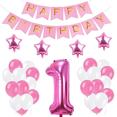 """Decoraciones de 1 Cumpleaños,""""Happy Birthday"""" Bandera Banner, Set globo rosa1 año, Clásico Número 1 Globo para cumpleaños, decoración de bodas, decoración de fiesta (Rosado1)"""