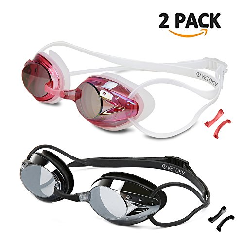Vetoky Swim Goggles, Swimming Goggles No Leaking Anti Fog UV Protection Triathlon Mirrored Racing Goggles for Adult Men Women Youth Kids Child - Swim Like A Pro …