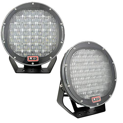Lumitek 2x 96w 9 Inch Headlamp Lamp Black Round 3W CREE LEDS Flood Beam Work Light Off Road Light Bar Fog Light Driving Light Roof Bar Bumper for SUV Boat 4x4