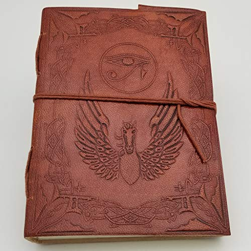 Eye of Horus Pegasus Journal - Leather Journal for Men and Women - 200 Page Notebook and Travel Journal - SongWriting Journal and Artist Sketchbook- 5x7 Inch Pages