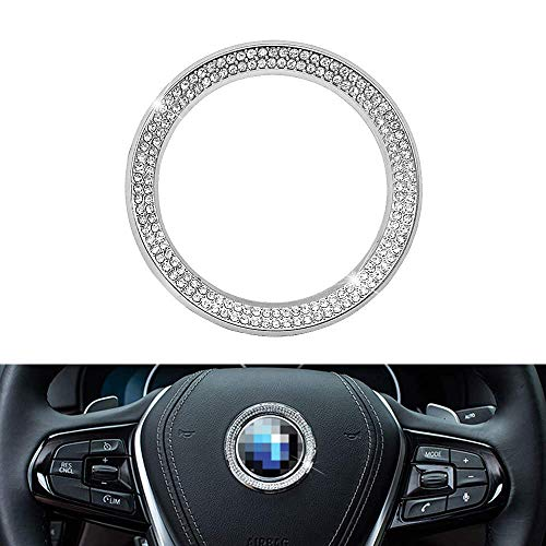 Senauto Bling Steering Wheel Emblem Badge Logo Cover Trim Circle Ring Decoration Compatible with BMW 1 3 5 7 Series X1 X 3 X 5 X6 (Silver)