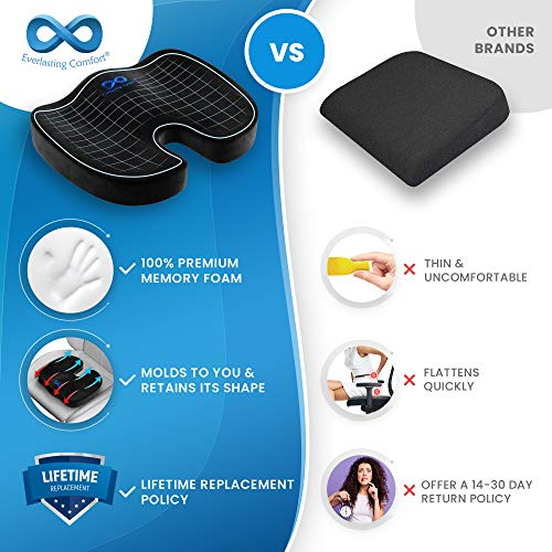 Everlasting Comfort Memory Foam Seat Cushion for Back, Coccyx, & Tailbone Pain Relief - Work, Desk, Car, Gaming, and Home Office Accessories - Sciatica Chair Cushion Pad (Black)