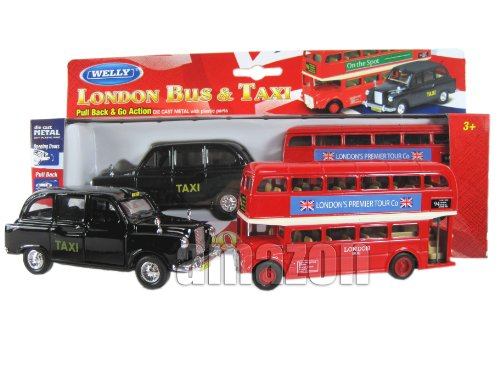 Londres Double Decker Bus Rouge et modèles Black Taxi (Pull Back & Go action) Mad ...