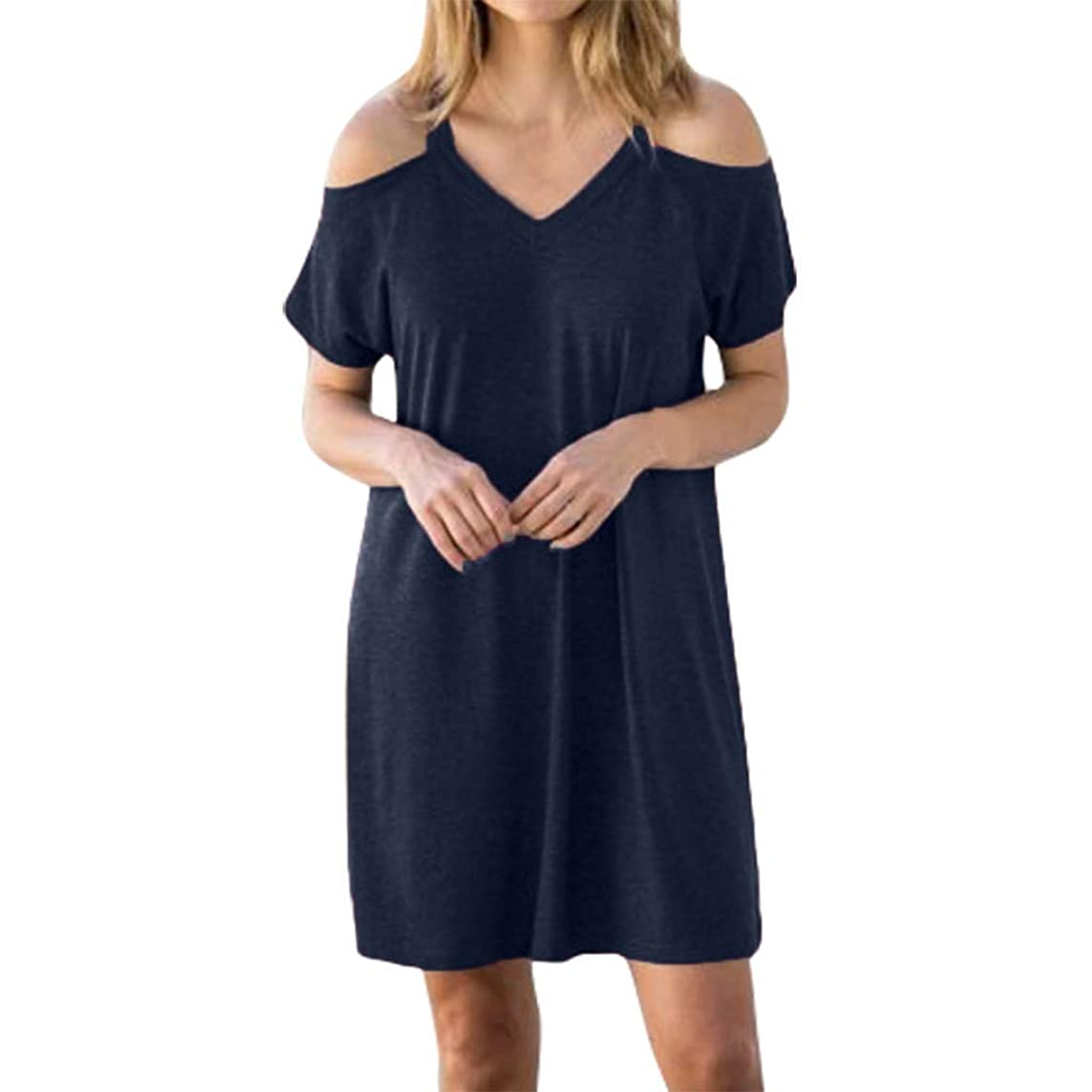 MURTIAL Women's T-Shirt Dress Ladies Summer Fashion Solid Color Sling Off Shoulder Casual Dress