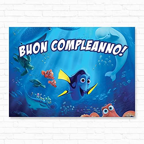 Poster Buon Compleanno in Carta Stampata Alta risoluzione cm L140 x H100 - alla Ricerca di Nemo - alla Ricerca di Dory 02