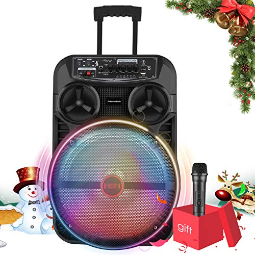 12Inch Upgrated Portable Karaoke Machine for Adults and Kids, 4800mAh Bluetooth PA System with Wireless Microphone, Rechargeable Speaker with Disco Lights for Christmas/Birthday Party