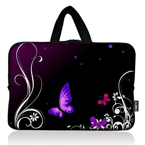 AUPET Purple Butterfly Universal 6 ~ 7 inch Tablet Portable Neoprene Zipper Carrying Sleeve Case Bag