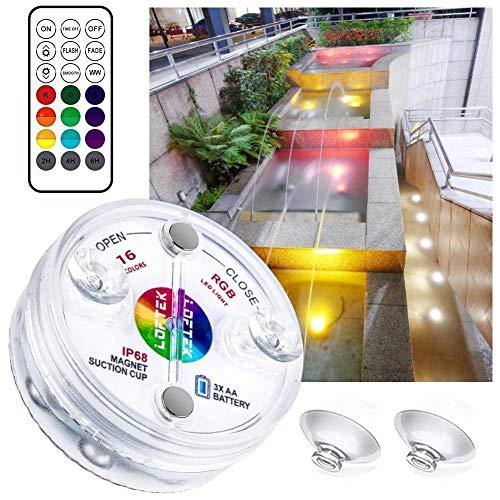 LED Unterwasserleuchten mit RGB Fernbedienung, Wasserdichte Schwimmbadleuchten mit Saugnäpfen, 13 Unterwasserlichter Farbwechsel für Teiche, Pools