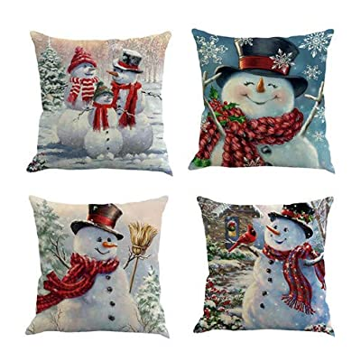 Throw Pillow Cover 18 x 18 Inches Set of 4 - Christmas Series Cushion Cover Case Pillow Custom Zippered Square Pillowcase(Christmas Snowman)