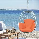 Hanging Egg Chair, Hammock Swing Chair with Hanging Kit, Egg-Shaped Hammock Swing Chair Single Seat for Indoor, Outdoor Bedroom, Patio, Garden, Aluminum Frame, Weatherproof Cushion