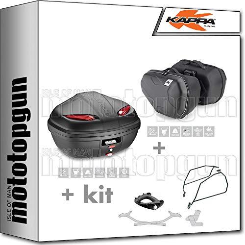 kappa maleta k47n + alforjas laterales ra314 + portaequipaje monolock + soporte alforjas compatible con honda nc 750 x 2020 20
