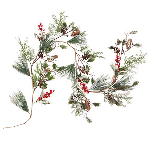 Fangoo 5FT Christmas Garland with Red Berry Pine Cone Garland Artificail Garland Indoor Outdoor Garden Gate Hone Decoration for Winter Holiday New Year Decor