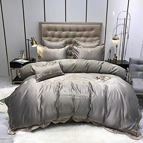 Juegos de Fundas nordicas para Cama 150,60 Lavado de agua Seda Bordado Sistema de cuatro piezas, cómodo sábana reversible de la cama de la cama de la chaqueta de almohada regalo-C_Cama de 2.0m