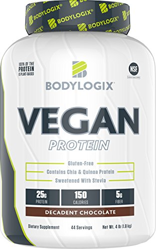 Bodylogix Vegan Plant Based Protein Powder, NSF Certified, Non-GMO, Decadent Chocolate 4 Pound