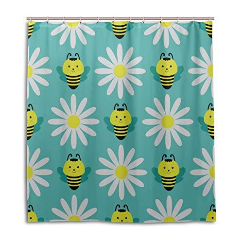 Yushg Jungen Badezimmer Duschvorhang Biene Fleißige Doppelflügel Insekten Bad Vorhang Für Kinder 66 X 72 Zoll maschinenwaschbare wasserdichte Badezimmer Vorhänge