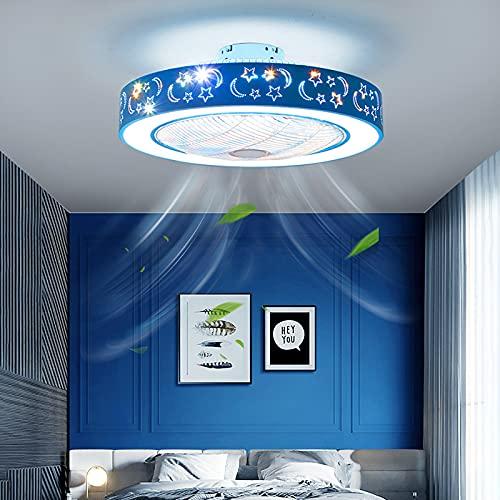 Ventilador Techo Con Luz Y Mando A Distancia Silencioso Lampara Ventilador Techo Infantil Plafón Led Techo Regulable Para Dormitorio Salon Cocina,Azul