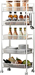 Serving Trolley Cart Mobile Storage 5 Tier Square Tube with Guardrail with Brake Universal Wheel, Carrying Capacity 25 Kg, 2 Colors (Color : White)