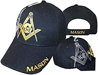 ONE NEW SUPER CAP Mason Masonic Freemason Ivy (Shadow) Black and Gold Masonic Lodge Ball Cap Hat One Size Fits Most with Adjustable Strap,Hoop and Loop Closure