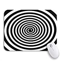 NINEHASA 可愛いマウスパッド サークル黒と白の催眠スパイラル渦サイケデリック体験ノンスリップラバーバッキングマウスパッド、ノートパソコン、マウスマット