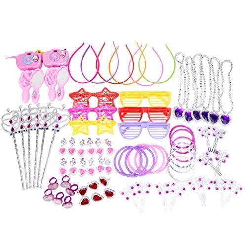 Amosfun 72Pcs Prinzessin So Tun Als Ob Schmuckset Schmuck Verkleiden Ringe Armband Brille Halskette Haarnadel ECC Geburtstagsgeschenk für Kinder Mädchen