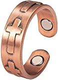 99.9% Pure Magnetic Copper Rings for Arthritis for Ladies Women Men Adjustable Health Each with 2PCS Magnets