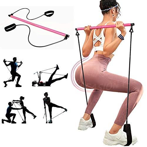Barra Pilates Fitness en Casa, Barra Portatil Pilates con Banda de Resistencia de Yoga para Musculacion, Modelado de Cadera, Estiramiento, Pilates Yoga Stick Entrenamiento de Gimnasio en Casa