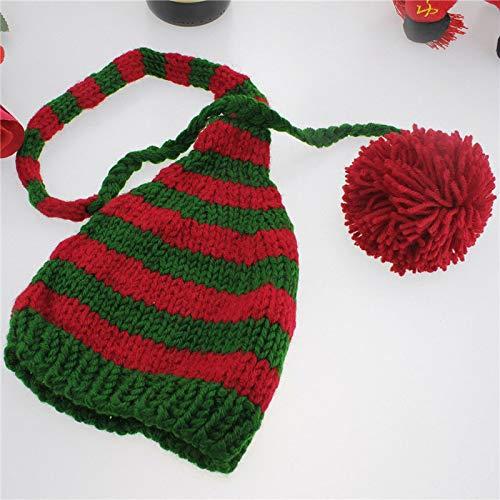 dingtian Sombrero de Navidad Recién Nacido Invierno Sombrero de Punto Rojo y Blanco Navidad Bebé Larga Plait Beanie Cap Crochet Infantil Santa Hat Fotografía Props Verde