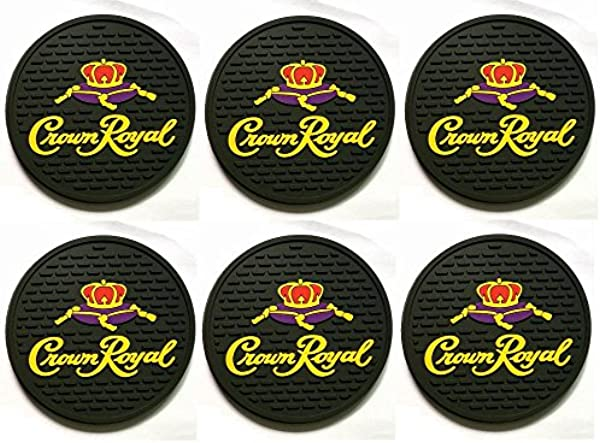Crown Royal Black Canadian Whisky Bar Coasters Spill Mats Set Of 6