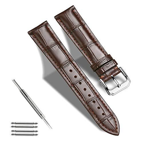 TRISTRAPS Krokodilleder/Echtleder Uhrenarmband 18mm/19mm/20mm/21 mm/22mm/23mm/24 mm Lederverschluss Schnallenuhrarmband Ersatzband (19mm, braun)