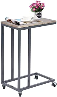 GreenForest Sofa Side Table, C Shape Laptop Holder with Wheels Wood and Metal End Table for Living Room Bedroom, Walnut