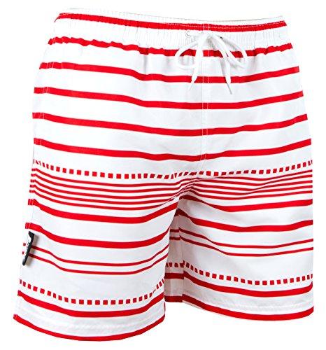 Luvanni Badehose für Herren Schnelltrocknende Badeshorts Style-10 mit Kordelzug Beachshorts Boardshorts Schwimmhose Männer gestreift Streifen Streifenmuster Farbe Weiss Rot XL