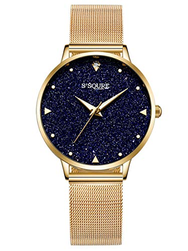 Alienwork Damen-Armbanduhr Quarz Gold mit Metall Mesh Armband Edelstahl schwarz echtes Marmor Zifferblatt