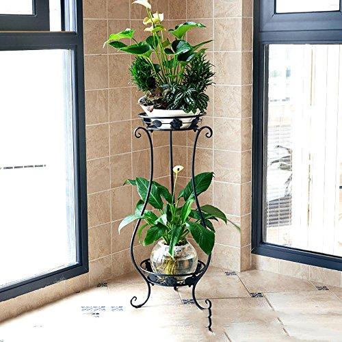 LLLXUHA Art de fer Métal Deux étages Étagère à fleurs, Planter des fleurs Présentoir, intérieur De plein air Multifonction Jardin Support , Black , 33*80cm