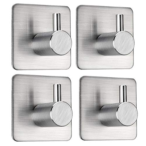 Adhesive Hooks Stick on Hooks Heavy Duty Anti-Skid Self Adhesive Holders Wall Towel Hooks for Hanging Door Cabinet Kitchen Bathroom Home Stainless Steel-4 Packs