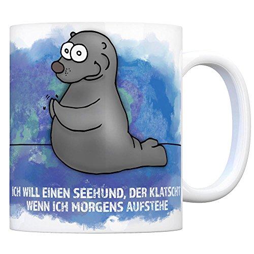 trendaffe - Kaffeebecher mit Seehund Motiv und Spruch: Ich Will einen Seehund, der klatscht, wenn ich morgens aufstehe