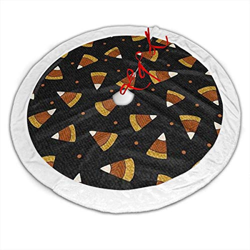 BIT Pumpkin Party Candy Corn Christmas Tree Skirt 48 Inch Xmas Tree Holiday Party Decorations