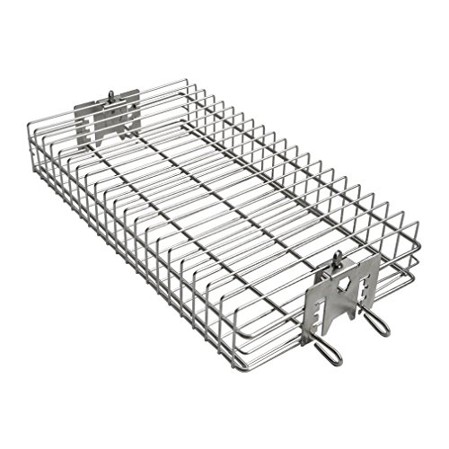 "only fire 6042 BBQ Stainless Steel Flat Spit Rotisserie Grill Basket for Any Grill, Fits 1/2"" Hexagon, 3/8"" Hexagon, 3/8"" Square&5/16"" Square Rotisserie Spit Rods"