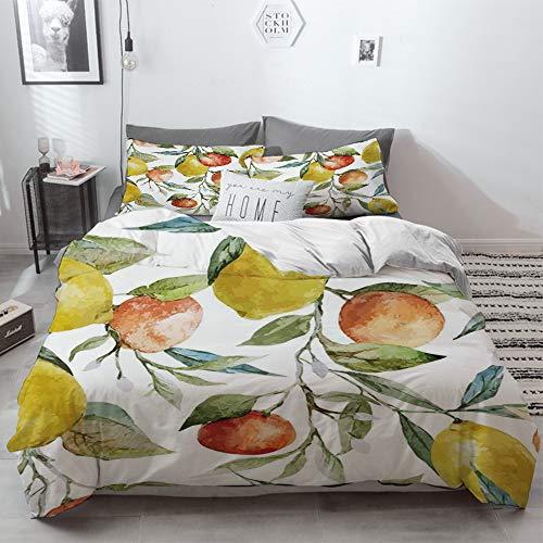 3 Piece Duvet Cover Set No Wrinkle Ultra Soft Bedding Set,Nature,Lemon and Orange Clementine Tree Branches Fruit Yummy Winter Season Vitamin Desi,2 pillowcase 50 x 75cm 1 Pc Bed sheet 200 x 200cm
