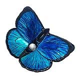 YEHEI Lavello A Forma di Farfalla, Combo Lavabo E Rubinetto del Bagno, Lavabo in Vetro Temperato con Set di Rubinetti A Cascata, Lavabo da Appoggio, 50 * 40 * 13CM,B