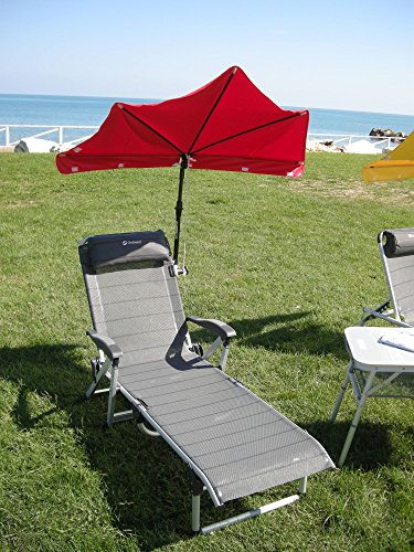 Beach – goulia Nova – Set Holly Relax – Compartiments Écran – Bordeaux Rouge + Accoudoirs Chaise longue avec coussin de nuque – 5,5 Kg léger réglable – Stabielo – Aluminium – Chaise longue 190 x 62 x 29 cm – Accoudoirs réglables Couleur : titanium – Distribution – Holly Mobile Mobile de protection de soleil Sunshade Holly®