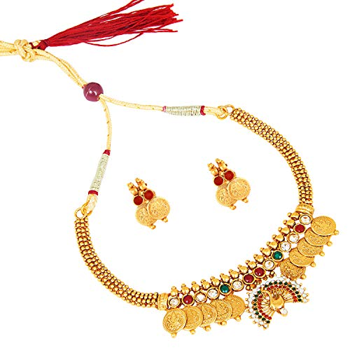 Bodha 22K Traditional Indian Bollywood Designer Gold Coin Necklace Jewelry Set for Girls & Women (SJ_2688)