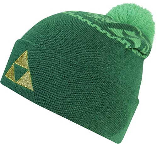 The Legend of Zelda Unisex Triforce Embroidered Knitted Rollup Beanie with Pompom Strickmütze, Grün (Green Green), One Size