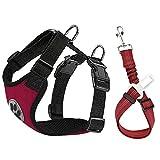 Lukovee Dog Safety Vest Harness Seatbelt, Dog Car Harness Seat Belt Adjustable...
