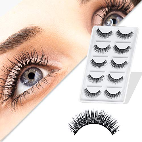 URAQT False Eyelashes,5 Pairs 3D Eye Lashes Natural Look, Faux Mink Fake...