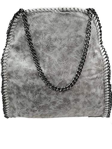 Anush Damen PU lässigen Kette Handtasche Modisch Schultertaschen Glitzer Beuteltasche (Grau)