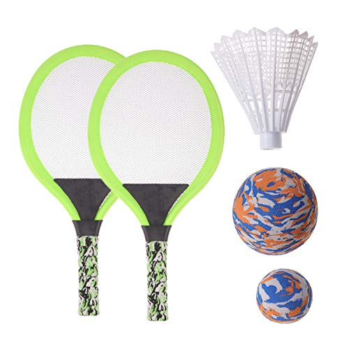 BESPORTBLE Tennisschlägerset Langlebiger Griff Badmintonschläger Spiel Strandspielzeug für Kinder Spielspiel im Freien Oval Grün
