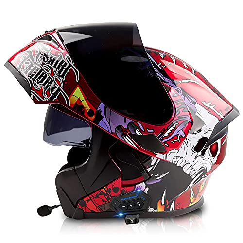 NAINAIWANG Motorcycle Bluetooth Helmets Integrated Modular Flip up Full Face Motorbike Crash Helmet Dual Visor Bluetooth Helmet Mp3 FM Intercom DOT/ECE Approved Helmet for Adults Men Women